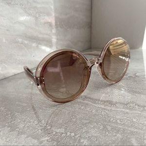 NWT Retro 1960s Rose Gold Round Bug Eye Sunglasses